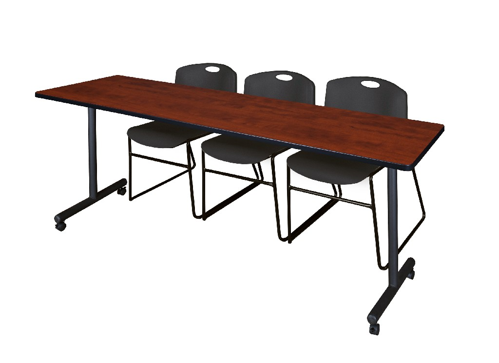 Regency Training Table Cherry Zeng Stack Chairs Black
