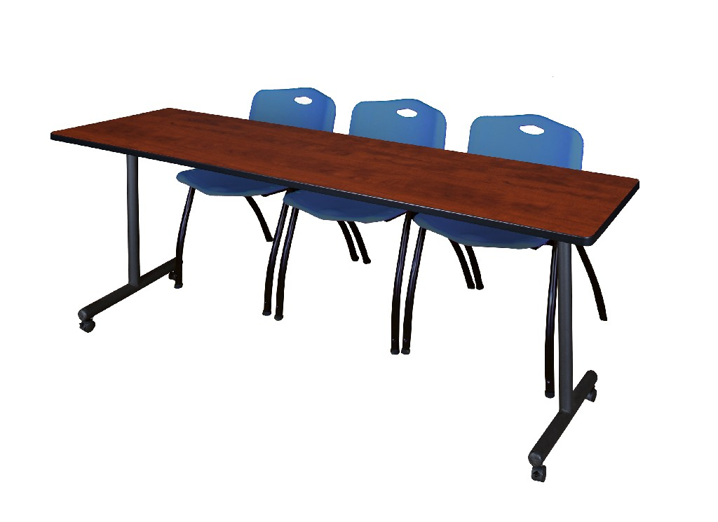 Regency Training Table Cherry Stack Chairs Blue