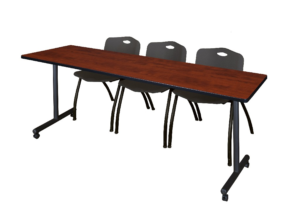 Regency Training Table Cherry Stack Chairs Black