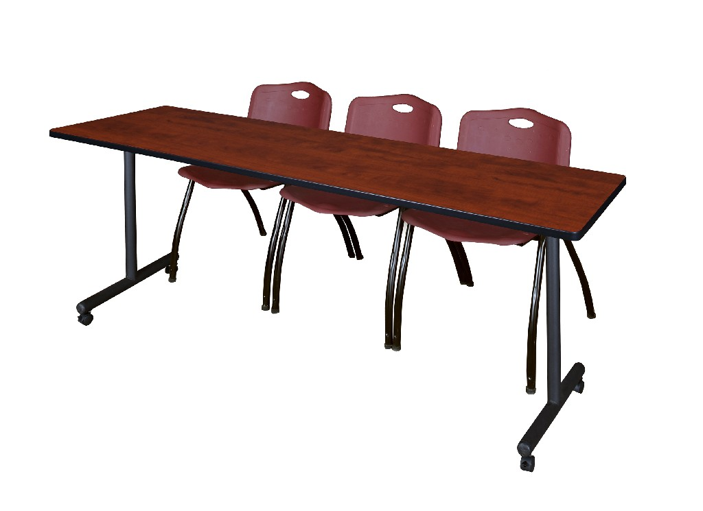 Regency Training Table Cherry Stack Chairs Burgundy