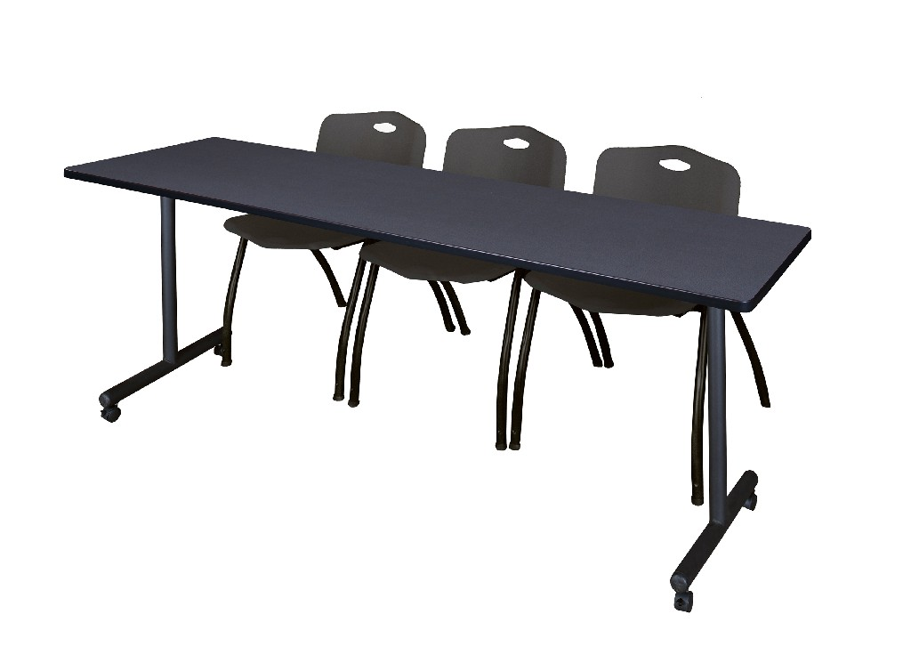 Regency Training Table Grey Stack Chairs Black