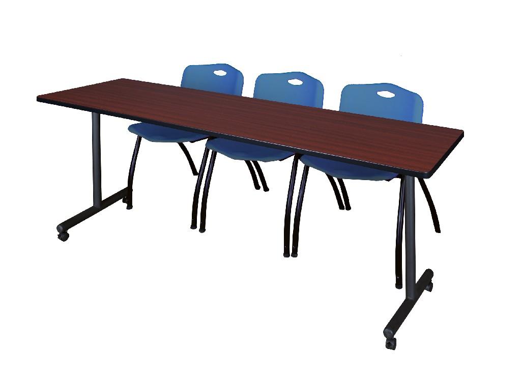 Regency Training Table Mahogany Stack Chairs Blue