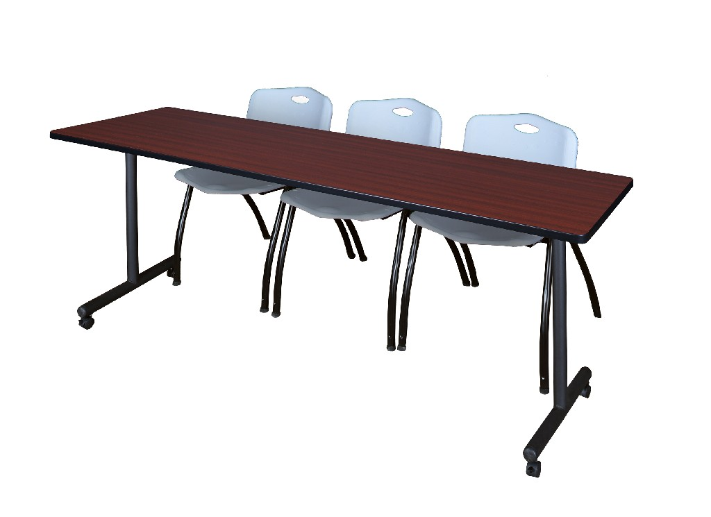 Regency Training Table Mahogany Stack Chairs Grey