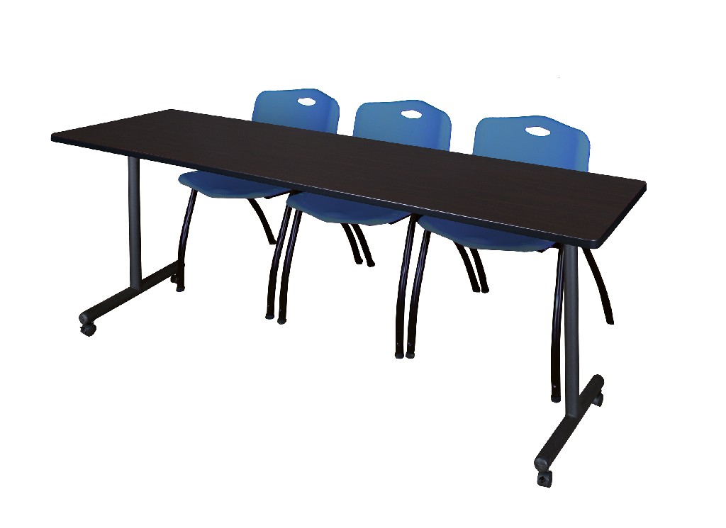 Regency Training Table Mocha Walnut Stack Chairs Blue