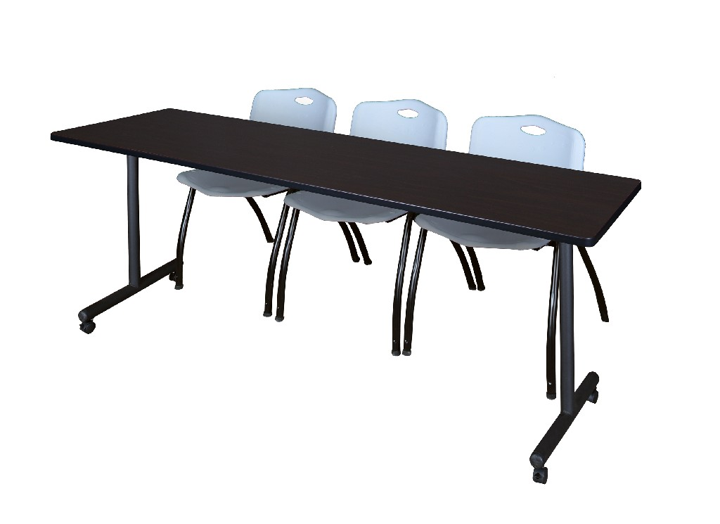 Regency Training Table Mocha Walnut Stack Chairs Grey