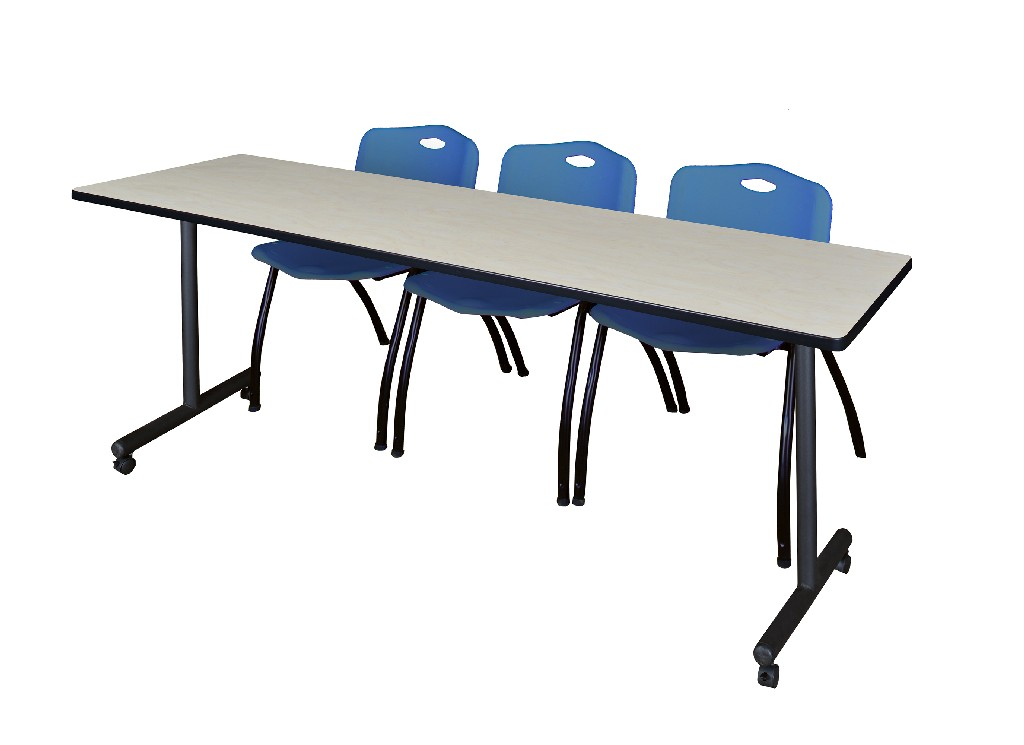Regency Training Table Maple Stack Chairs Blue