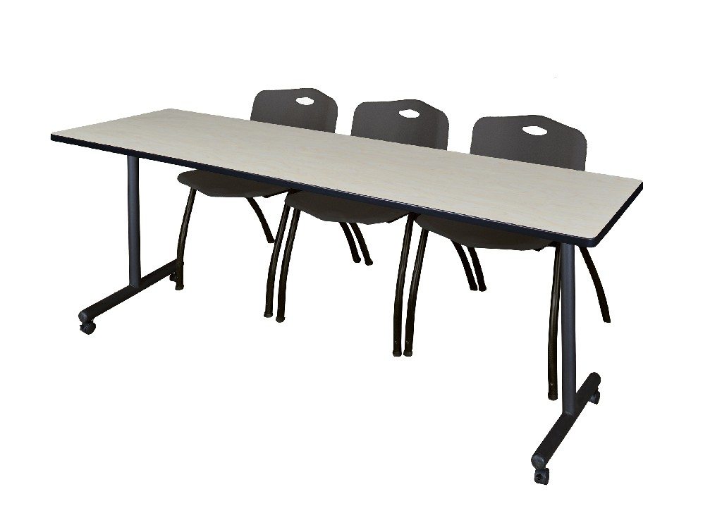 Regency Training Table Maple Stack Chairs Black