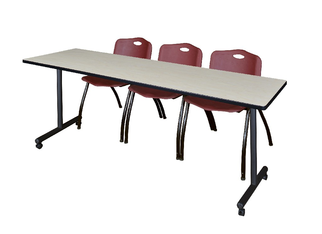 Regency Training Table Maple Stack Chairs Burgundy