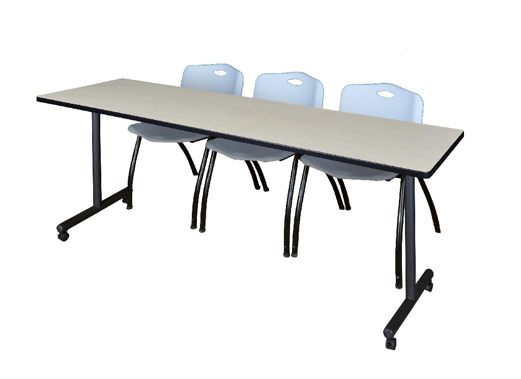 "84"" x 24"" Kobe Mobile Training Table in Maple & 3 'M' Stack Chairs in Grey - Regency MKTRCC8424PL47GY"
