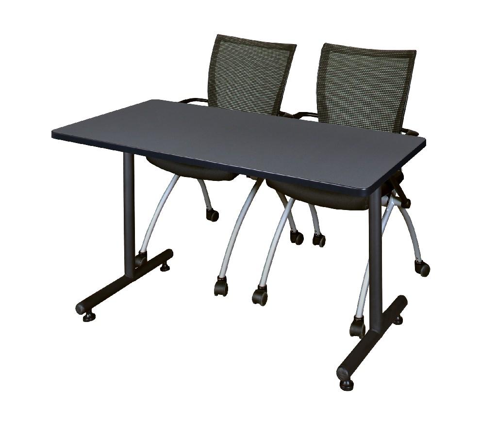 Regency Training Table Grey Apprentice Chairs Black