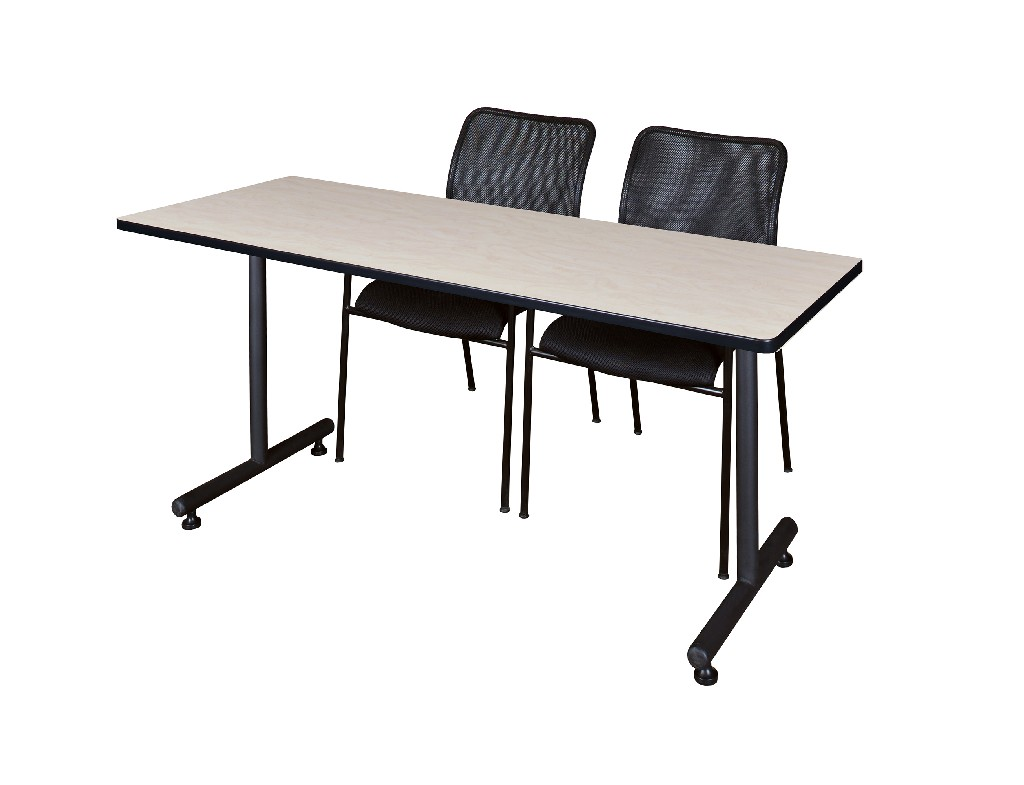 Regency Training Table Maple Mario Stack Chairs