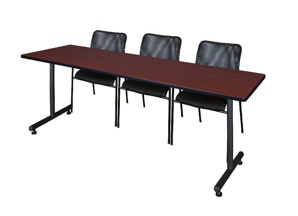 Regency Training Table Mahogany Mario Stack Chairs Black