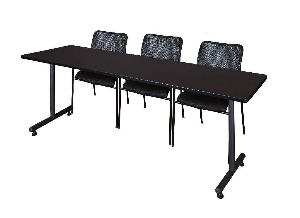 Regency Training Table Mocha Walnut Mario Stack Chairs Black