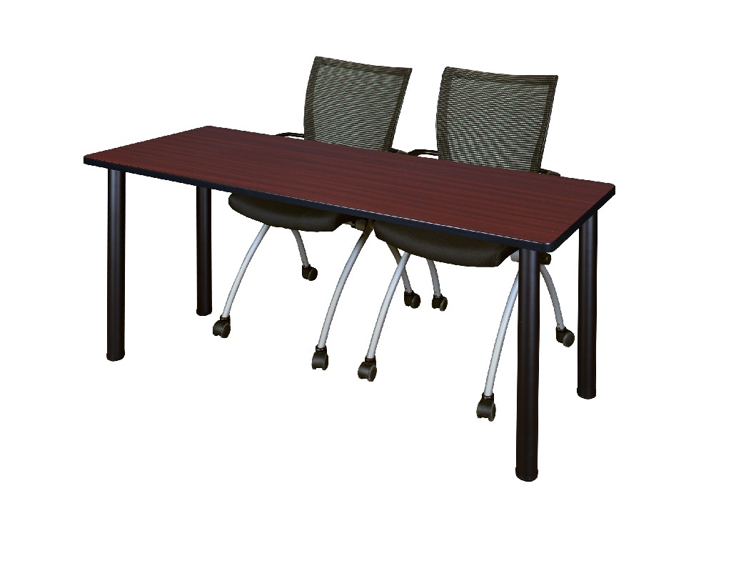 Regency Training Table Mahogany Black Apprentice Chairs Black