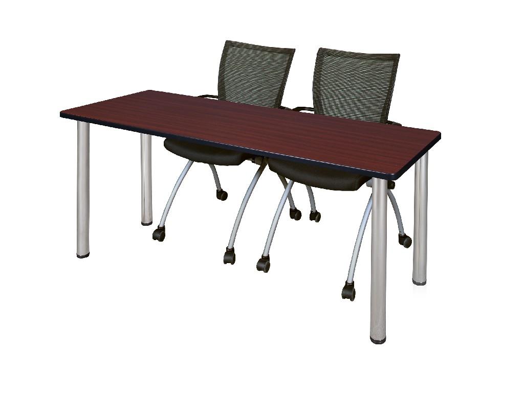 Regency Training Table Mahogany Chrome Apprentice Chairs Black