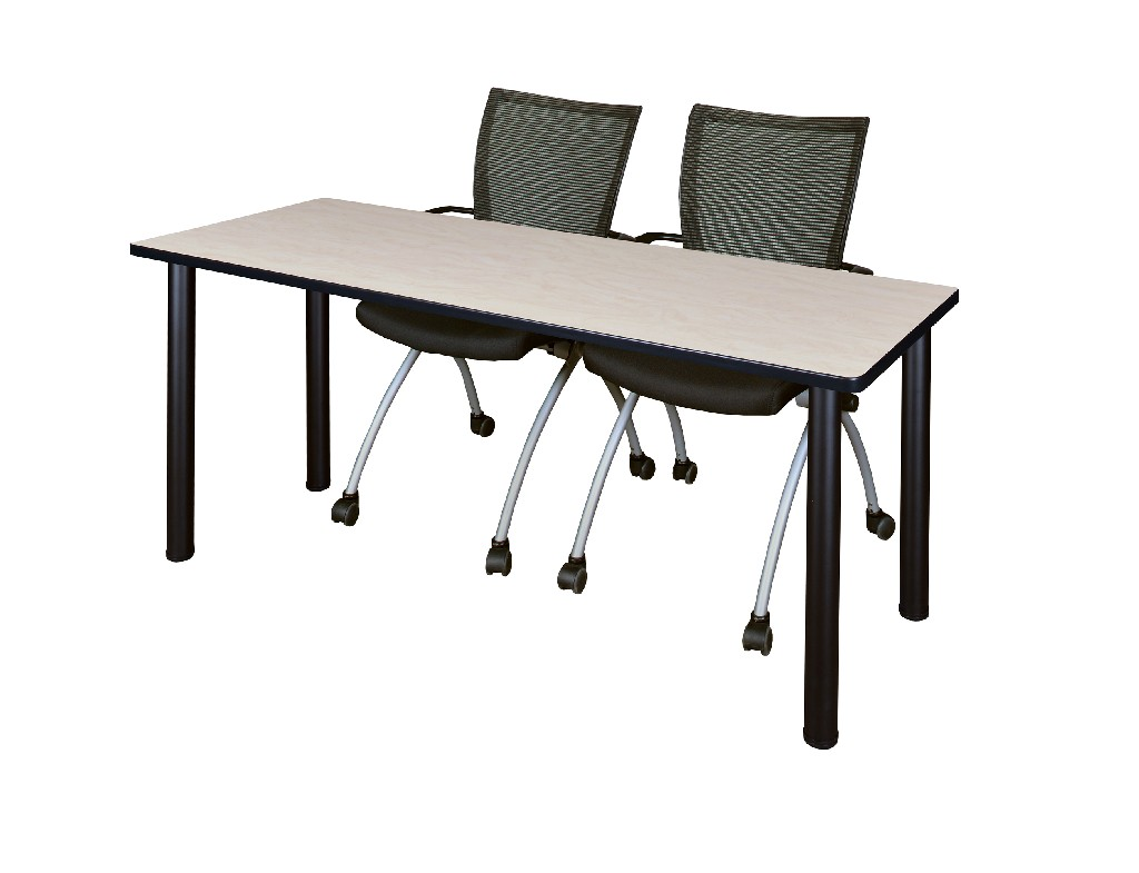 Regency Training Table Maple Black Apprentice Chairs Black