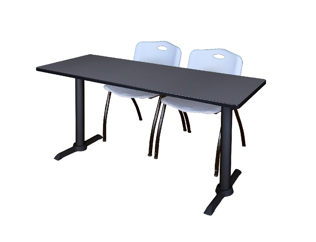 Cain 60 X 24 Training Table In Grey 2 M Stack Chairs In Grey Regency Mtrct6024gy47gy