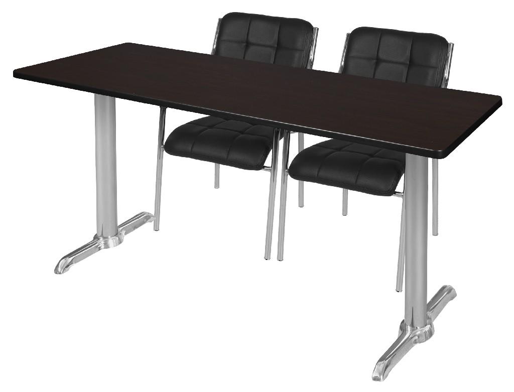 Regency Training Table Mocha Walnut Chrome Uptown Side Chairs Black