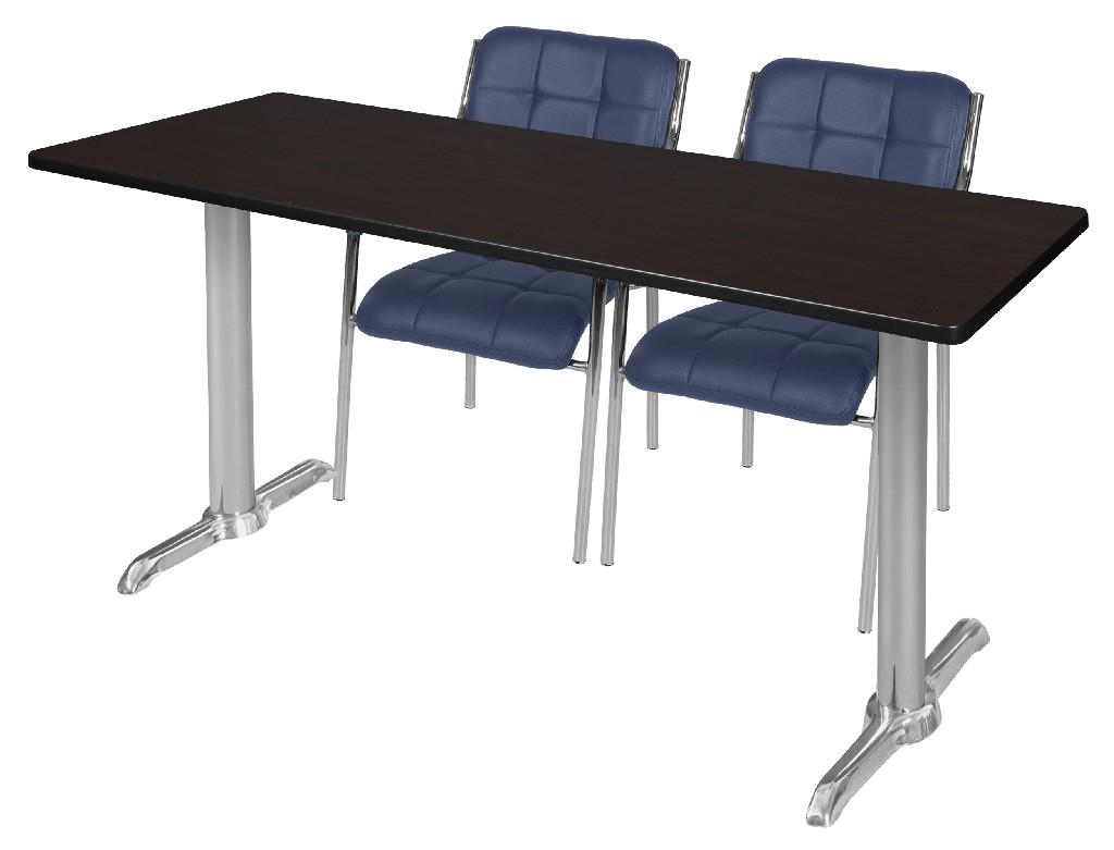 Regency Training Table Mocha Walnut Chrome Uptown Side Chairs Navy
