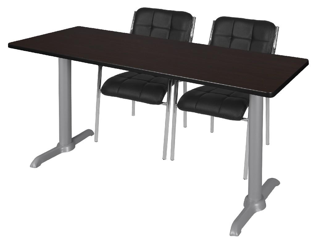 Regency Training Table Mocha Walnut Grey Uptown Side Chairs Black