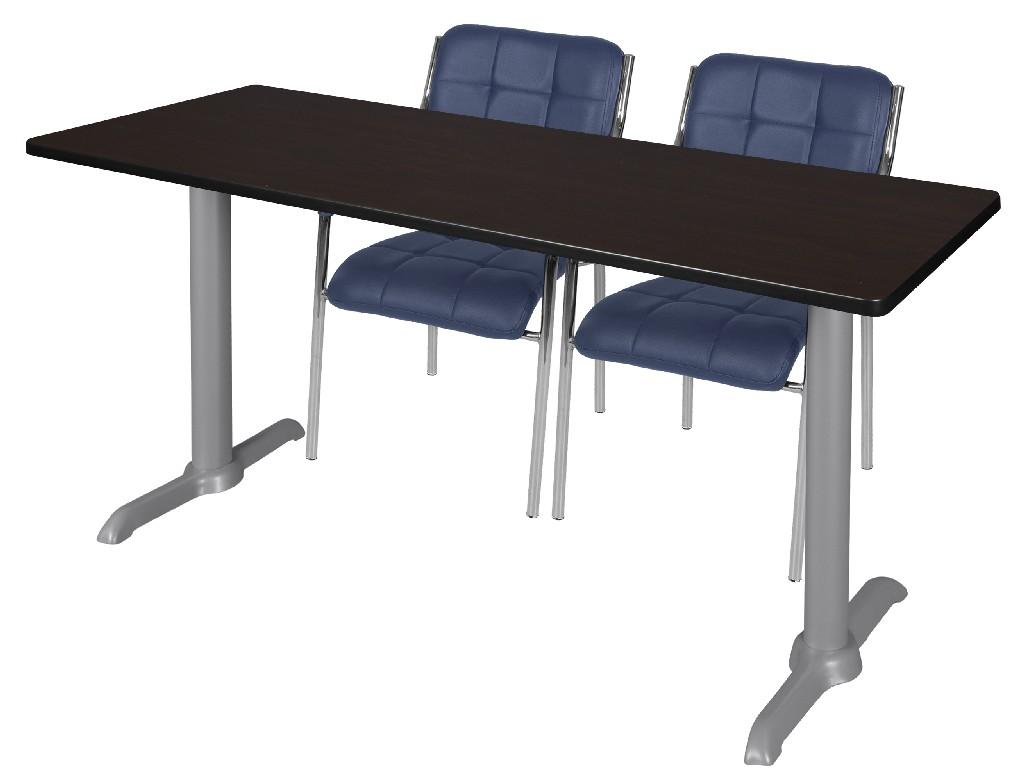 Regency Training Table Mocha Walnut Grey Uptown Side Chairs Navy