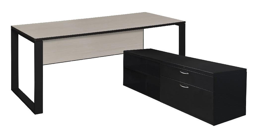 Regency Desk Metal Low Credenza Maple Black