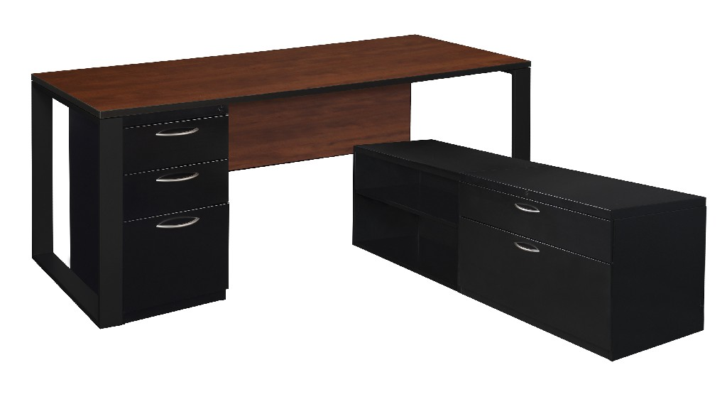 Regency Desk Metal Low Credenza Full Pedestal Cherry Black