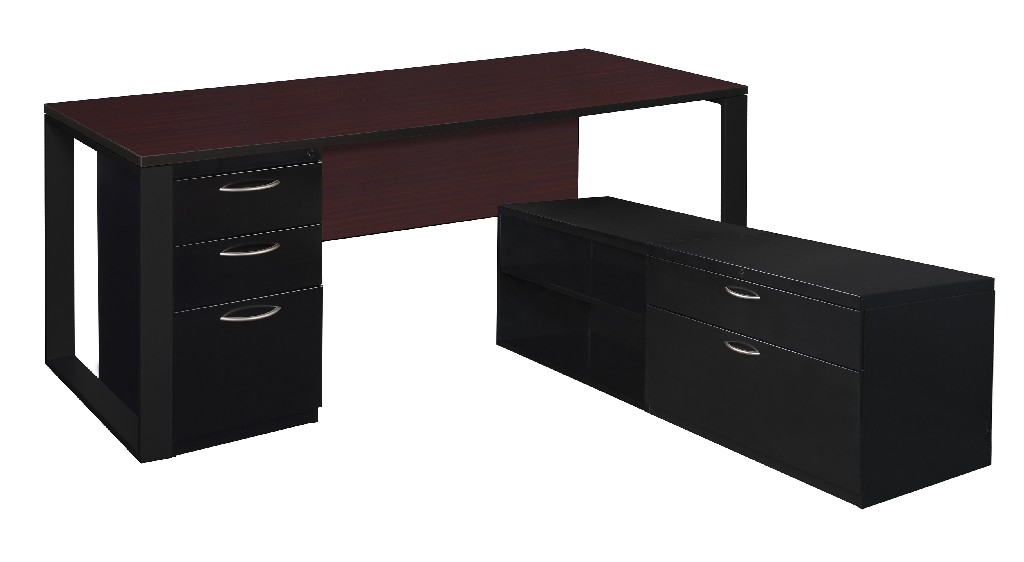 Regency Desk Metal Low Credenza Full Pedestal Mahogany Black