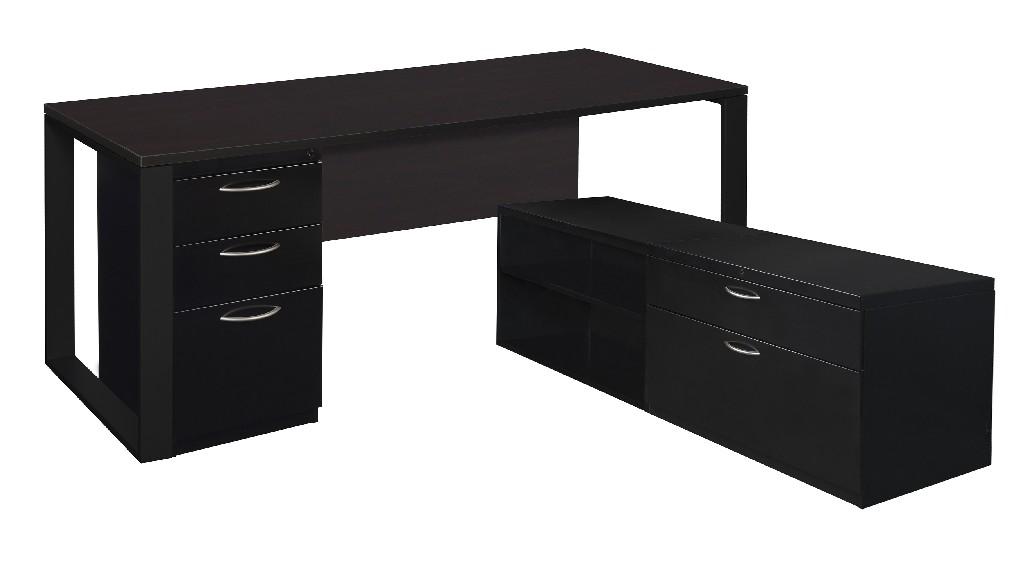 Regency Desk Metal Low Credenza Full Pedestal Mocha Walnut Black