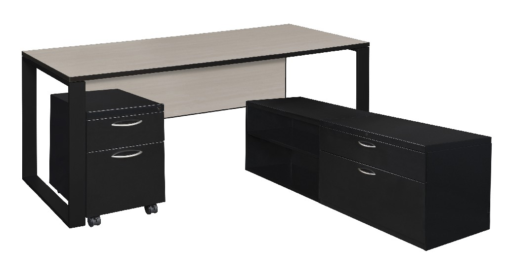 Regency Desk Metal Low Credenza Pedestal Maple Black
