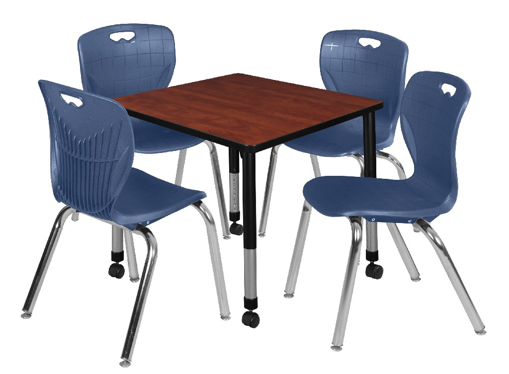 Kee 30 Square Height Adjustable Mobile Classroom Table In Cherry 4 Andy 18 In Stack Chairs In Navy Blue Regency Tb3030chapcbk40nv