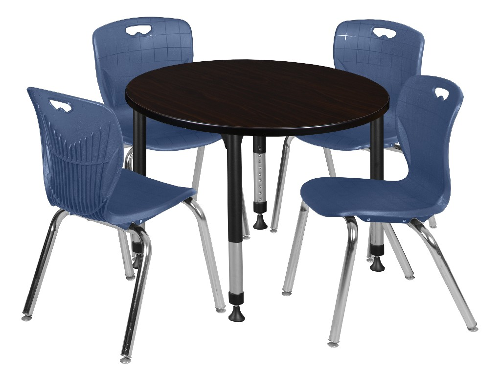 Adjustable   Height   Walnut   Stack   Round   Chair   Table   Navy   Blue