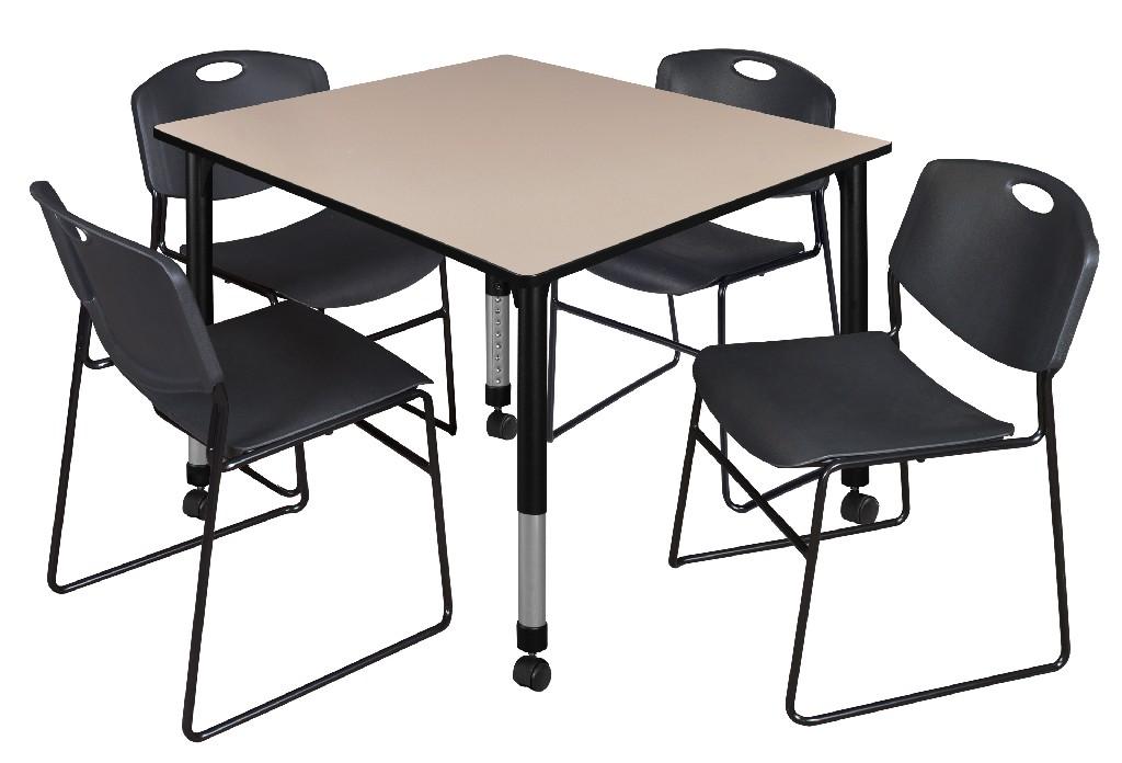 Regency Square Height Adjustable Classroom Table Beige Zeng