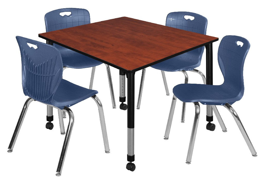 Regency Square Height Adjustable Classroom Table Cherry Andy
