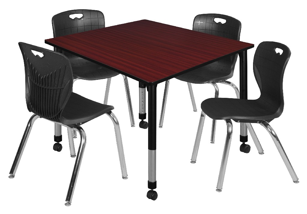 Regency Square Height Adjustable Moblie Classroom Table Mahogany