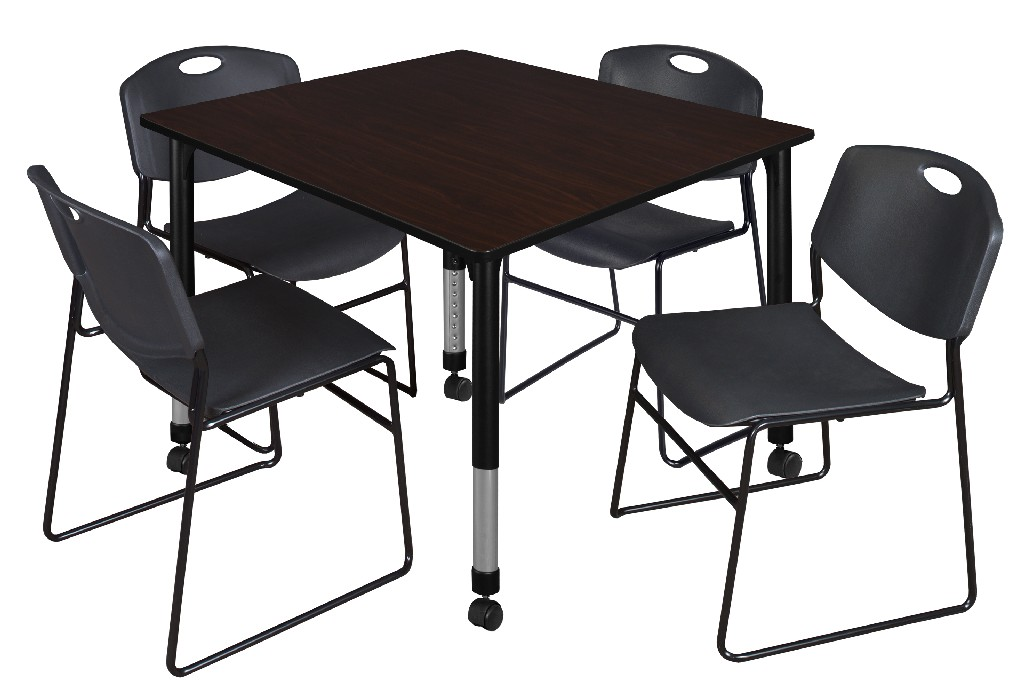 Regency Square Height Adjustable Classroom Table Mocha Walnut
