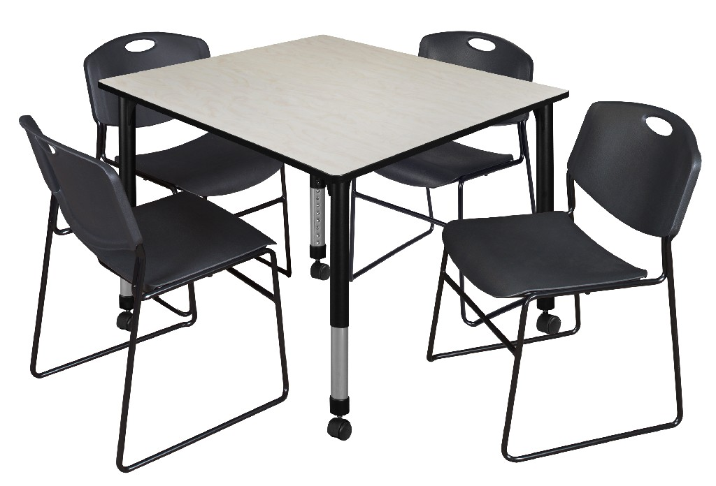 Regency Square Height Adjustable Classroom Table Maple Zeng