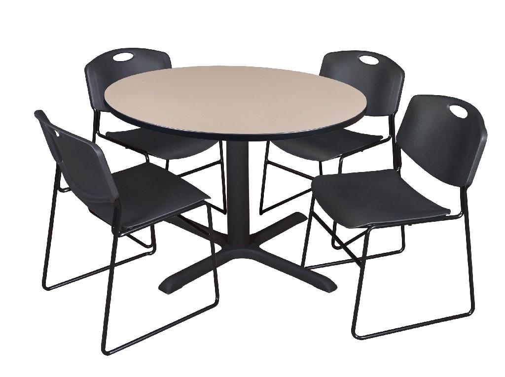 Regency Round Breakroom Table Beige Zeng Stack Chairs Black