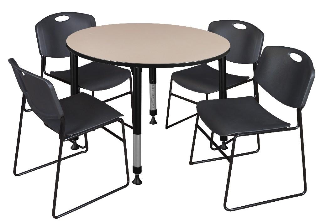 Regency Round Height Adjustable Classroom Table Beige Zeng