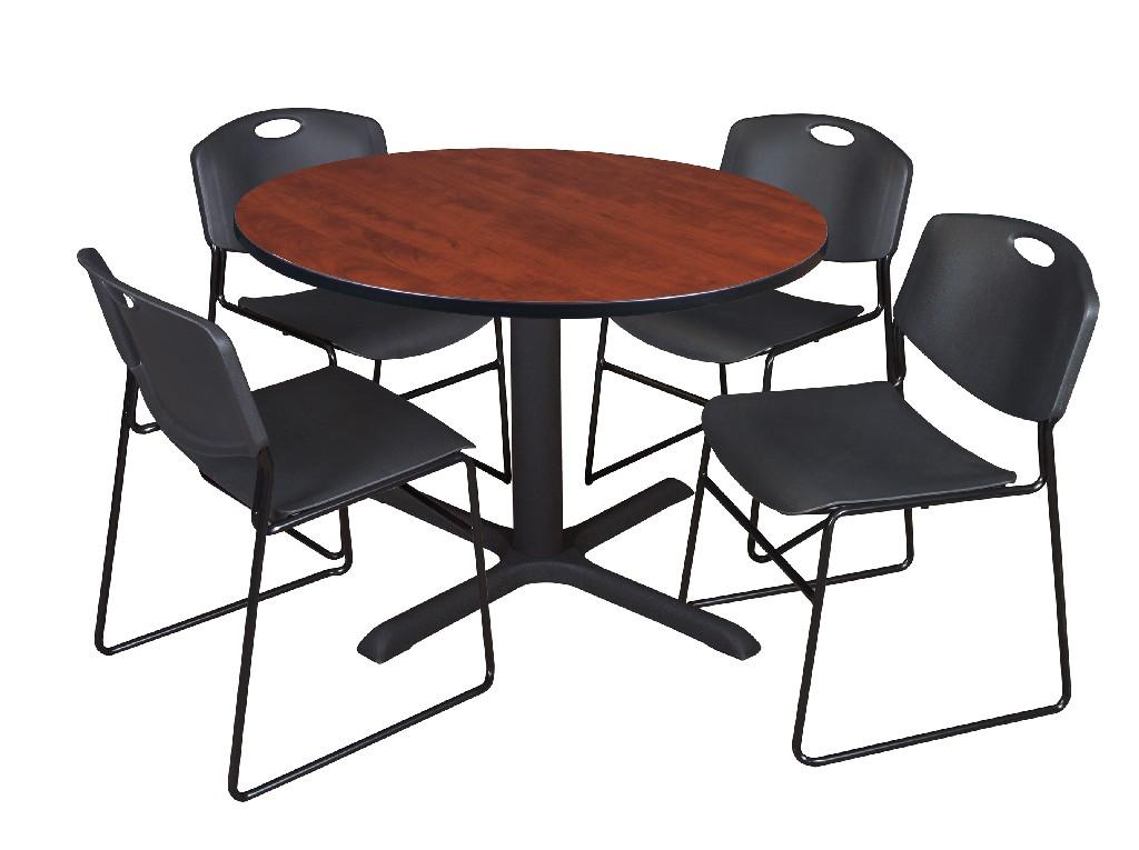 Regency Round Breakroom Table Cherry Zeng Stack Chairs Black