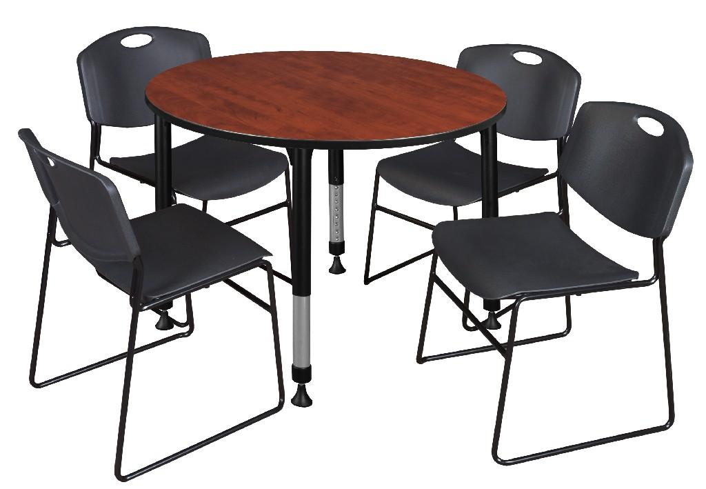 Regency Round Height Adjustable Classroom Table Cherry Zeng