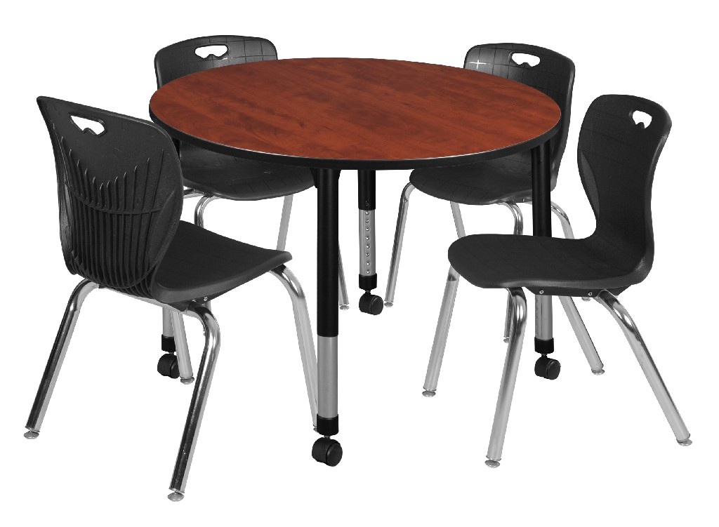 Regency Round Height Adjustable Classroom Table Cherry Andy