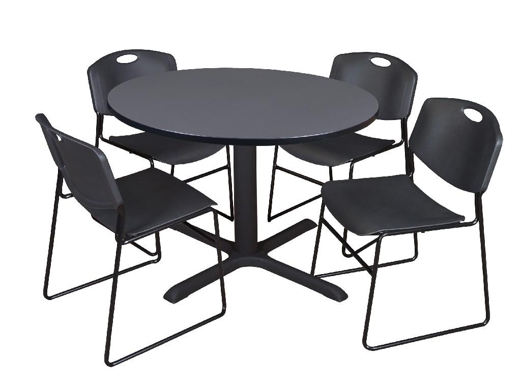 Regency Round Breakroom Table Grey Zeng Stack Chairs Black