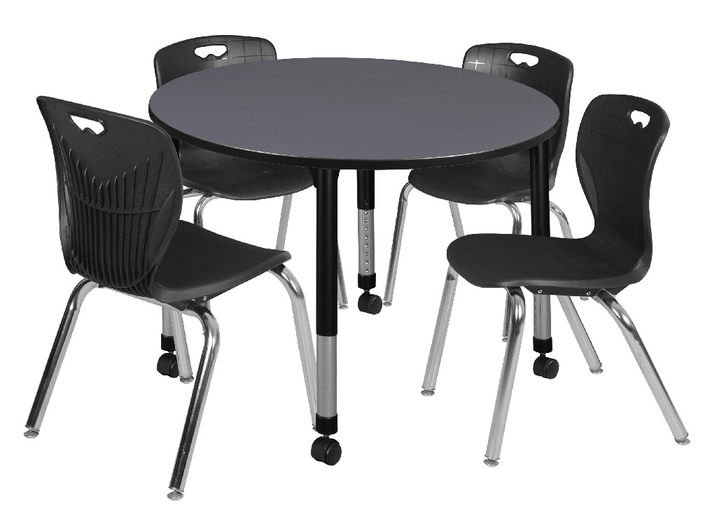 Regency Round Height Adjustable Classroom Table Grey Andy Stack