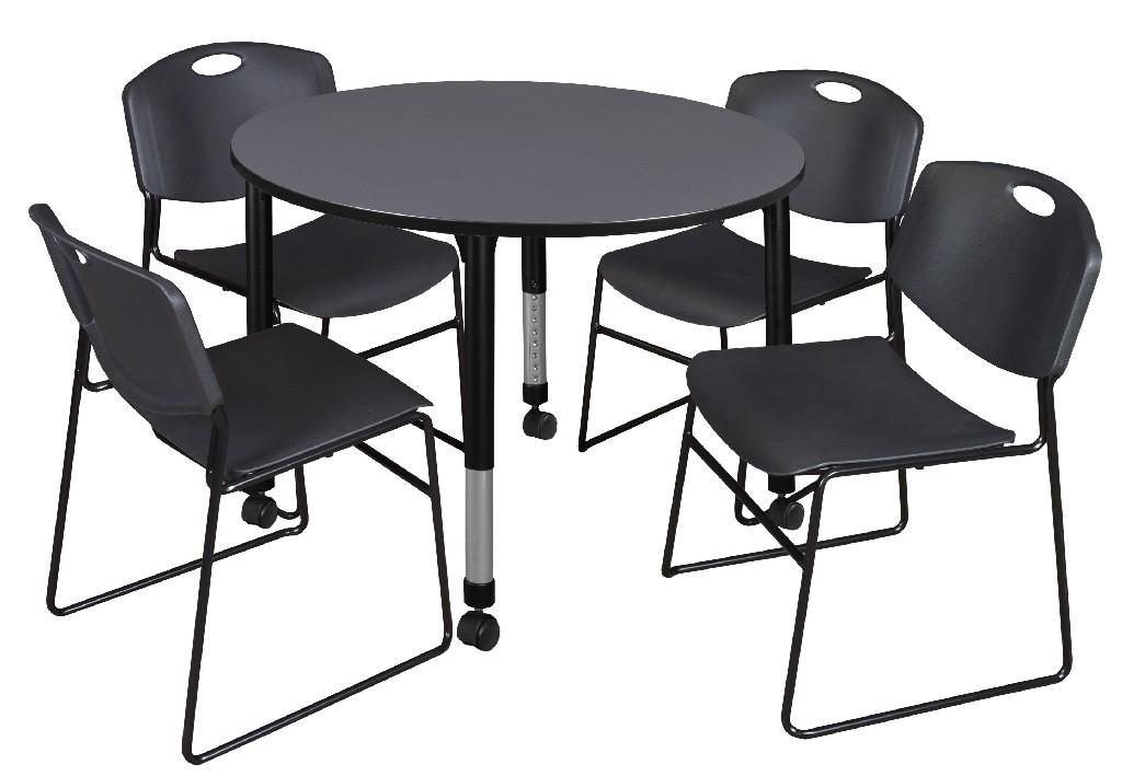 Regency Round Height Adjustable Classroom Table Grey Zeng Stack