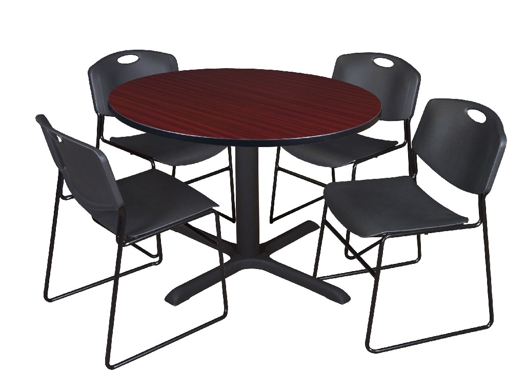 Regency Round Breakroom Table Mahogany Zeng Stack Chairs Black