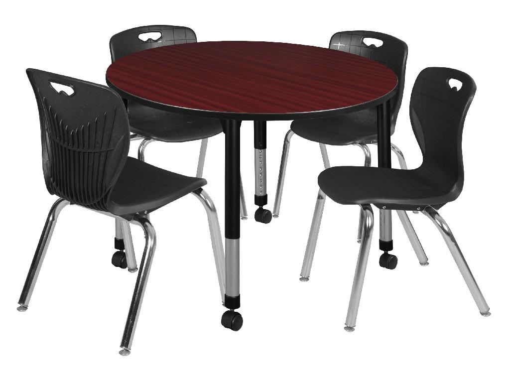 Regency Round Height Adjustable Classroom Table Mahogany Andy