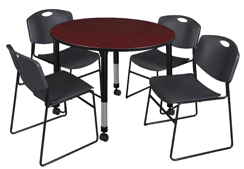 Regency Round Height Adjustable Classroom Table Mahogany Zeng