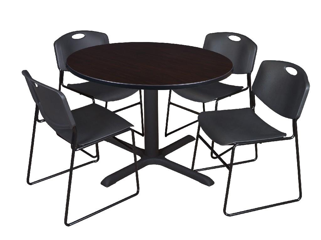 Regency Round Breakroom Table Mocha Walnut Zeng Stack Chairs Black