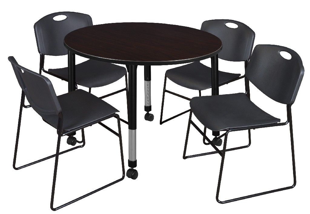 Regency Round Height Adjustable Classroom Table Mocha Walnut